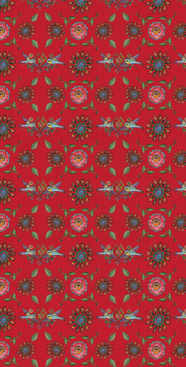 Crafty Chica Red Flower Pattern Design created using original artowrk by Kathy Cano-Murillo for Sizzix Crafty Chica Paper Collection, 2017