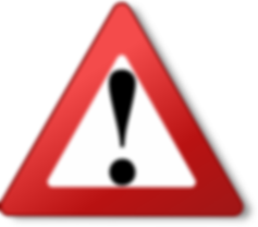 Red triangle warning sign with exclamation point