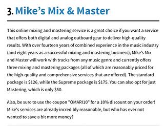 Screenshot of a company review for mikesmixmaster.com via Omari
