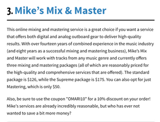 Screenshot of a company review for mikesmixmaster.com via Omari