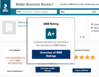 Screenshot of the Better Busiess Bureau raiting and reviews for Mikes Mix & Master, showing their A+ raiting