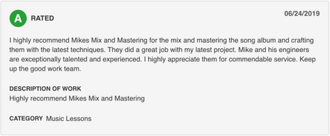 Screenshot of a A rated review for mikesmixmaster.com via Angies List