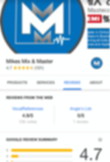 Screenshot of business profile and reviews for Mikes Mix & Master