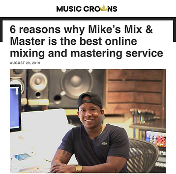 Screenshot of an article posted about Mikes Mix & Master review from Music Crowns