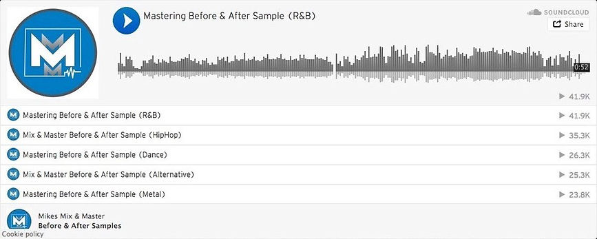 Soudcloud player showcasing before and after mixing and mastering audio samples