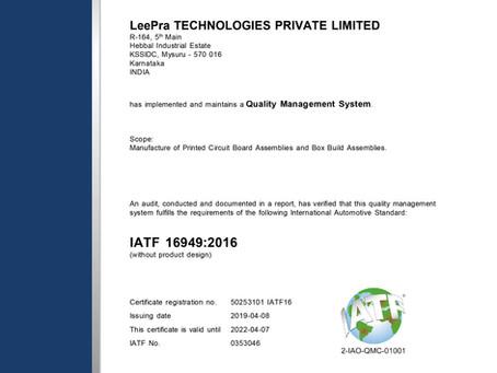 IATF 16949:2016 - Our recent achievement