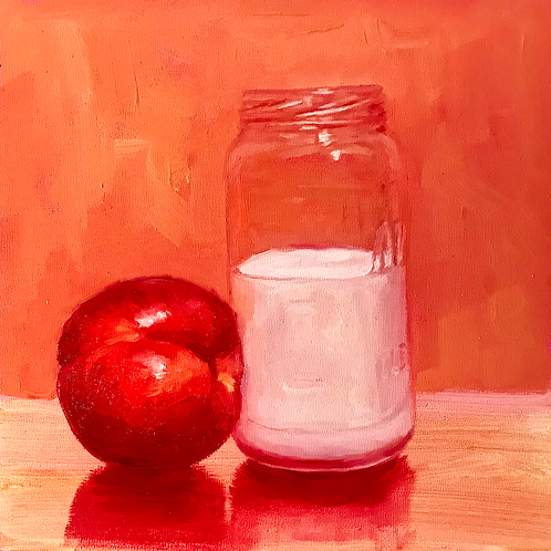 """Nectarine and Milk"" 6x6in."