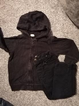 9-12months black hoodie and jeans set