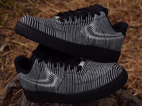 """Custom Nike AF1 Linear Distortion """"Black"""""""
