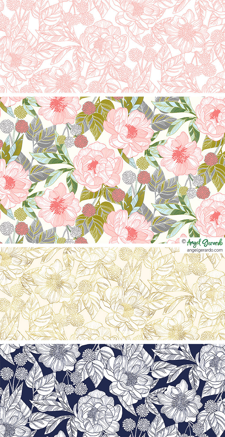 Angel Gerardo Floral Botanical Handpainted Digital Art Illustraton Surface Design