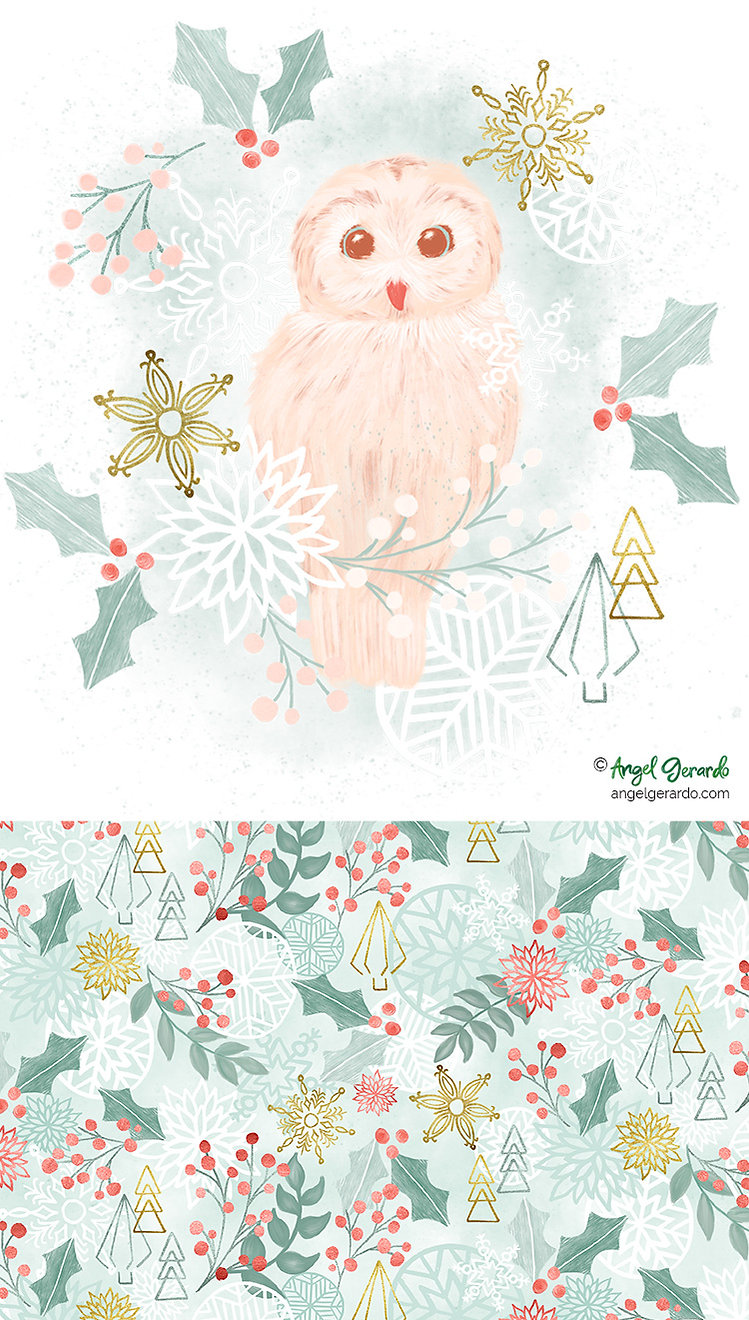 Angel Gerardo Christmas Holiday Handpainted Digital Art Illustraton Surface Design
