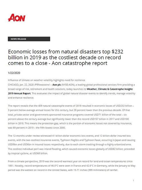 Aon - 2019 Natural Disaster Review