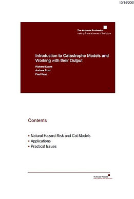 Introduction to Catastrophe Models and Working with their Output