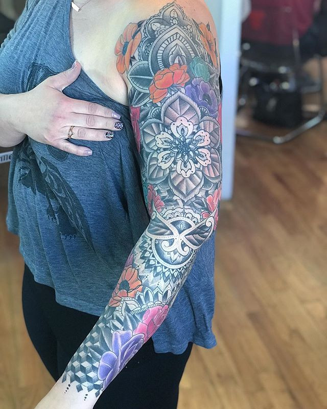 Worked on this fun sleeve yesterday than