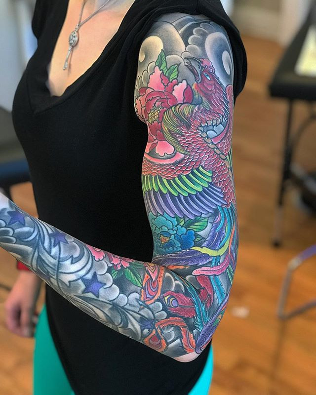 Healed phoenix sleeve thanks again Aisli