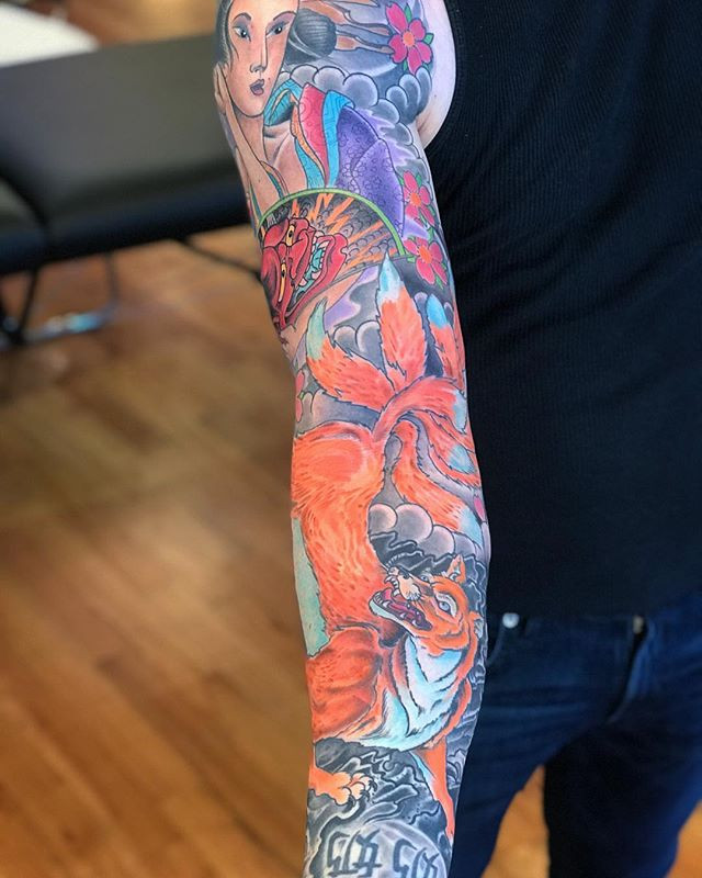 Finished this fun phoenix sleeve last we