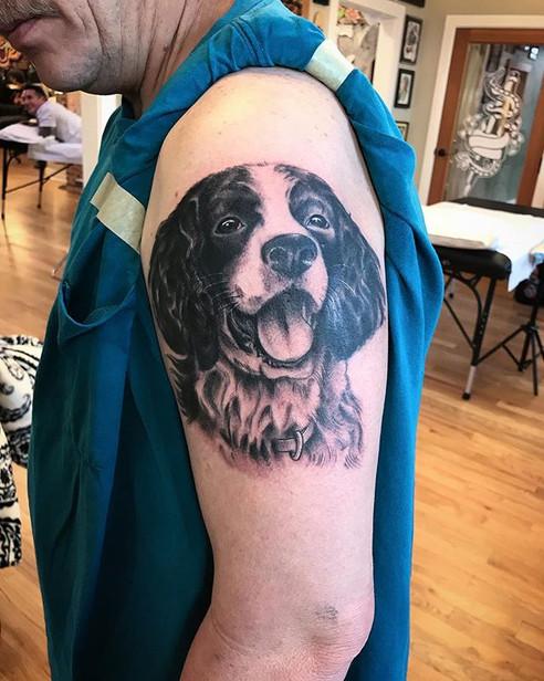Got to tattoo this fun dog portrait toda