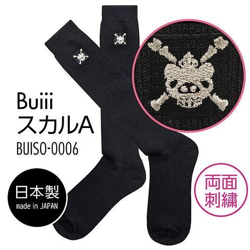 Buiii ハイソックス黒(BuiiiスカルA)BUISO-0006