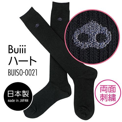 Buiii ハイソックス黒(Buiiiハート)BUISO-0021
