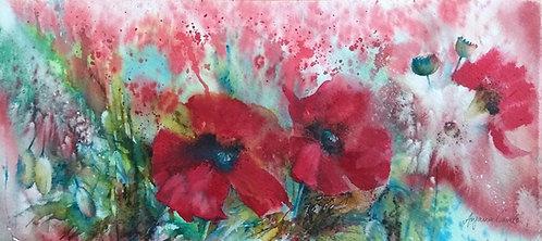 Poppy painting - original watercolour