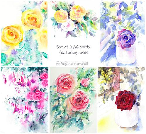 Set of 6 Rose Cards