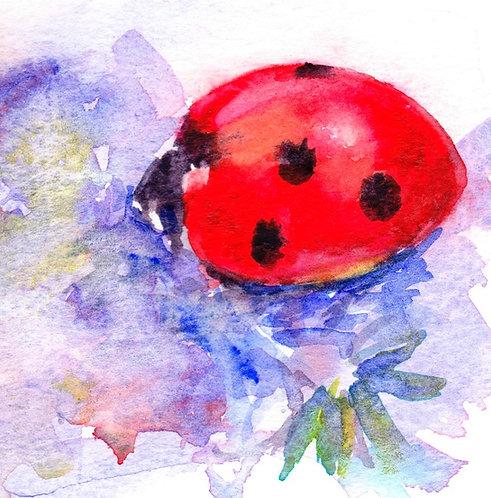 Original watercolour painting of a ladybird