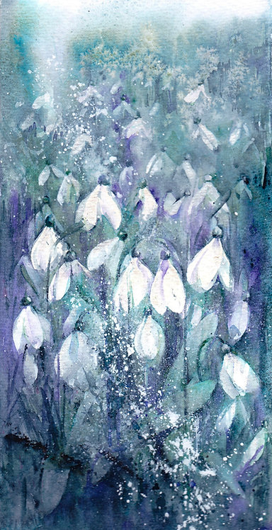 Snowdrop painting, original watercolour painting