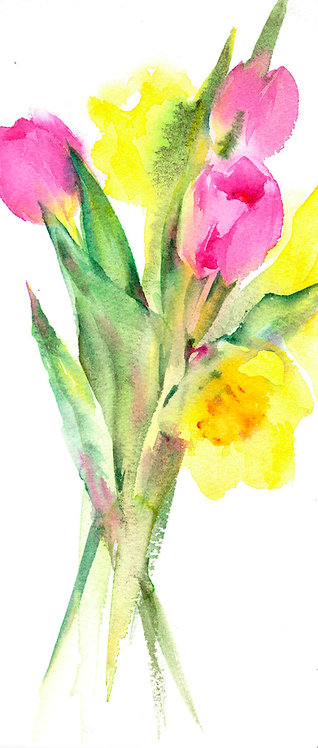 Original watercolour painting of Tulips and Daffodils