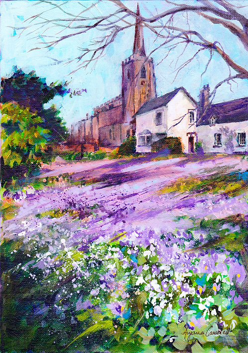 St Marys Church, Attenborough, original acrylic painting