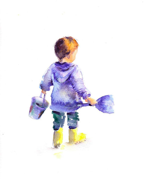 Child with bucket and spade - Original watercolour painting