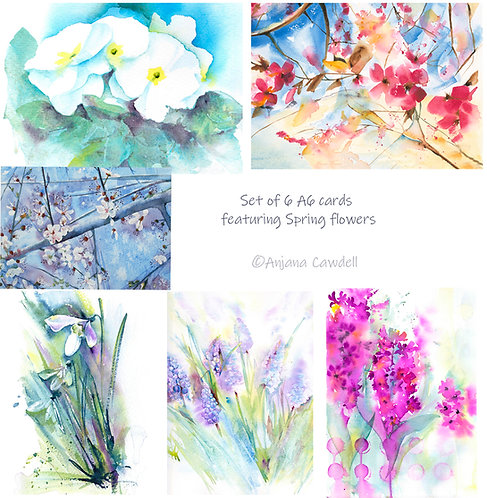 Set of 6 A6 Greetings Cards - Spring Collection