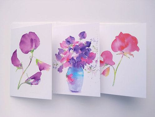 Set of 3 Sweet pea Cards
