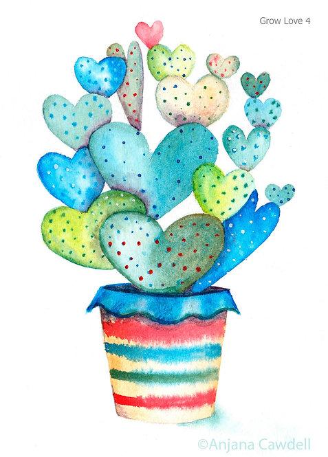 Heart Card, Blank Greetings Card, Watercolour, Watercolor