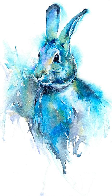 Blue Rabbit, Original Watercolour Painting