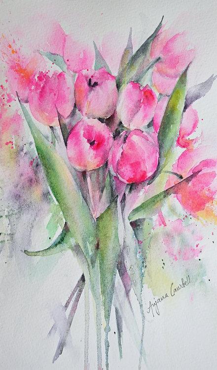 Original Watercolour painting of Pink Tulips