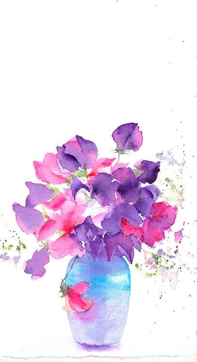 Sweetpeas in blue vase