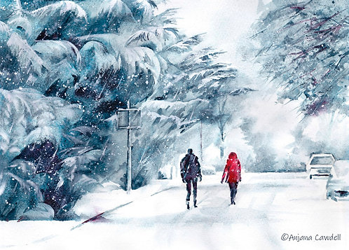 Winter Red, Original Watercolour Painting, Stroll in the Snow