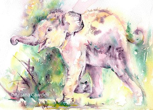 Elephant card, Blank Greetings Card, Watercolour, Watercolor, A6