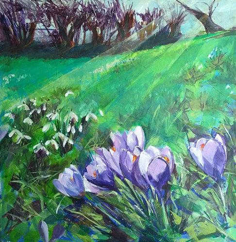 Crocuses and Snowdrops, Original Spring Landscape