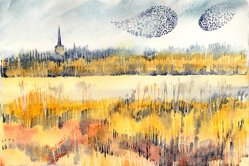 Starling Murmuration, Landscape painting, Framed, ready to hang