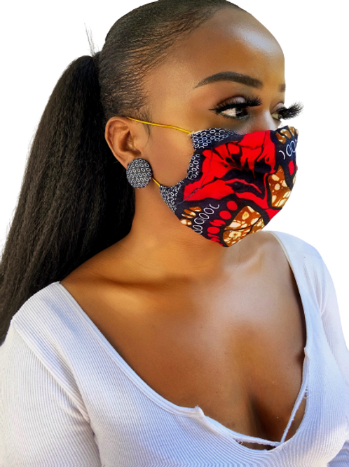African Print Mask & Earring Set