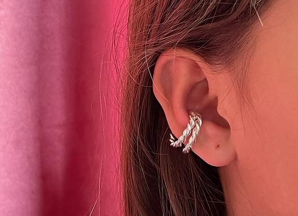 Twisted dubble earcuff - sterling silver