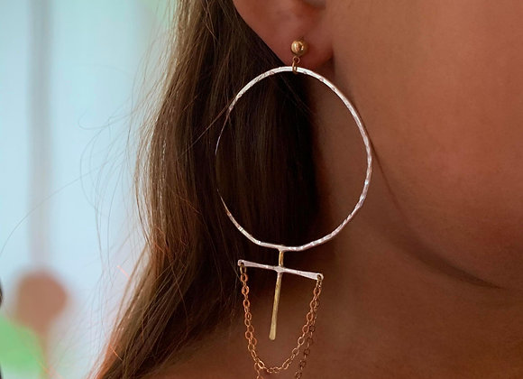 SYSTER- venus earring in silver and brass