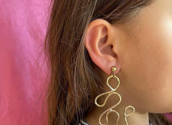 Asymmetric brass earring #4