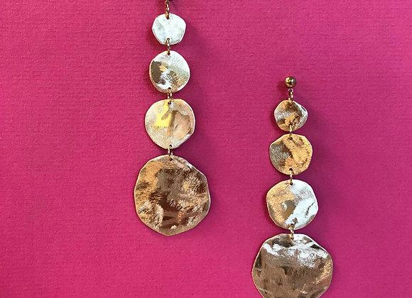Circle statement brass earrings