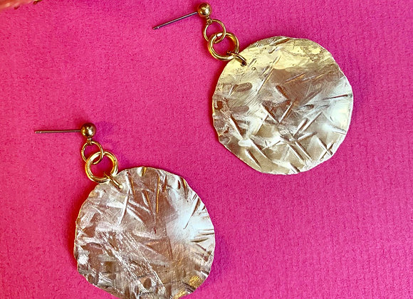 Raw brass circle earrings - a pair
