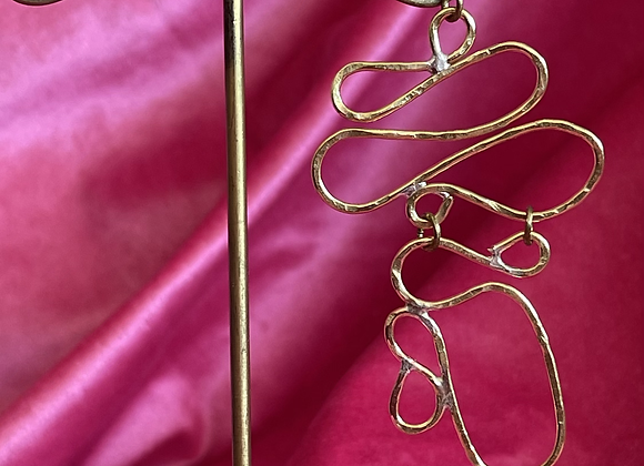 Asymmetric brass earring #1