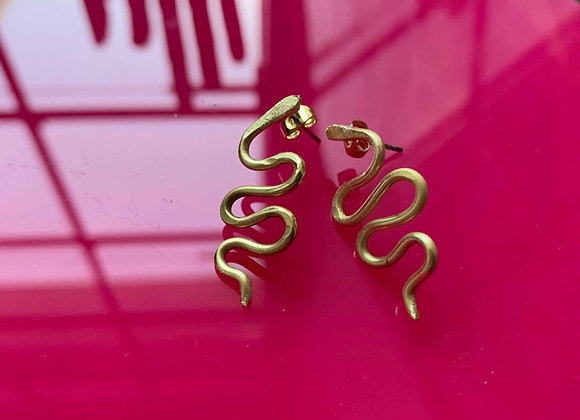 Mini snake earrings - brass