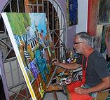 Peinture en direct à la galerie Dante, mexique