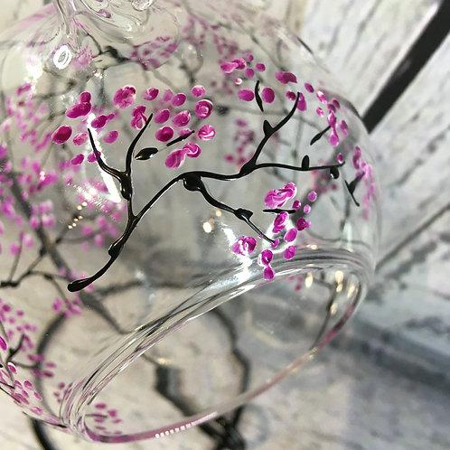 Hanging Tea Light Holder, Hand-painted Cherry Blossom